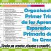 Organización del primer trimestre de los aprendizajes esperados para primaria de todos los grados
