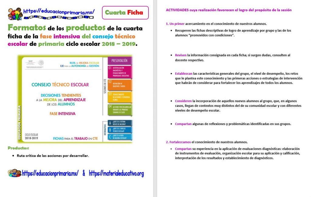 Formatos de los productos de la cuarta ficha de la fase intensiva ...