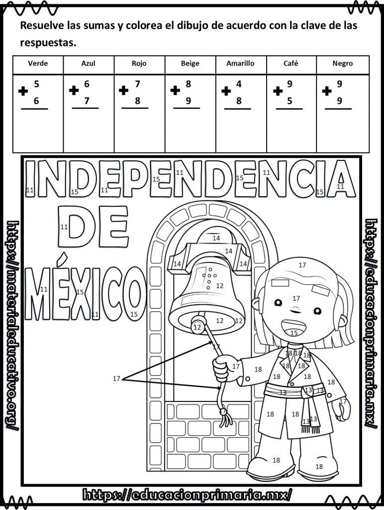 Suma, resta y colorea el dibujo de la independencia de México para ...