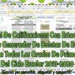Control de calificaciones con estadística, gráficas y generador de boletas de evaluación para primaria del ciclo escolar 2019-2020